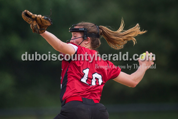 Southridge's Boo Polley pitched during Saturday's 3A softball sectional championship game in Jasper. Vincennes Lincoln defeated Southridge 10-2. Sarah Ann Jump/The Herald