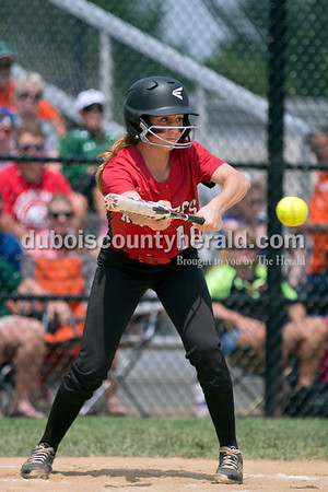 Southridge's Boo Polley bunted during Saturday's 3A softball sectional championship game in Jasper. Vincennes Lincoln defeated Southridge 10-2. Sarah Ann Jump/The Herald