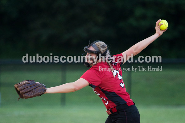 Southridge's Bre Wilkey pitched the first half of Thursday's 3A softball sectional semifinal game in Jasper. Southridge defeated Washington 8-5. Sarah Ann Jump/The Herald