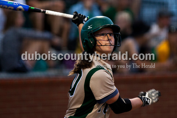 Tegan Johnston/The Herald Forest Park's Kennedy Sermersheim hit a foul ball during Tuesday's IHSAA Class 2A sectional game in Bretzville. Forest Park lost to North Posey in the seventh inning 1-0.