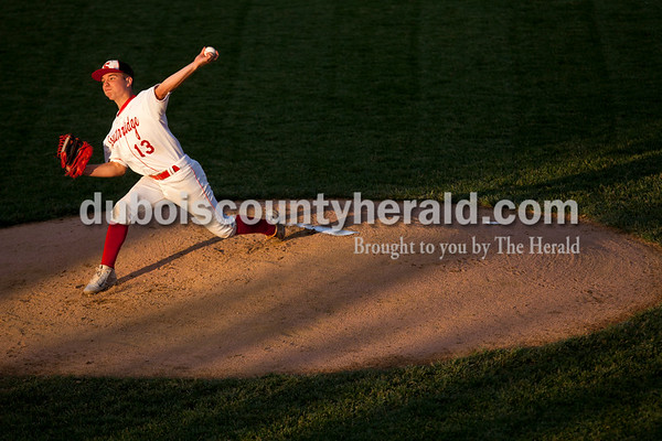 Tegan Johnston/The Herald Southridge's Kade Allen delivered a pitch during Thursday's Class 3A sectional championship at Ruxer Field in Jasper. Southridge defeated Washington 7-5.