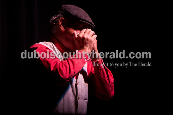 Tegan Johnston/The Herald Ray Major of Ferdinand performed on his harmonica during Friday night's The Very Big Show (of Support) at the Jasper Arts Center in Jasper. The community-wide GIVE WHERE YOU LIVE! fundraising campaign was designed to raise money for the Jasper LEADs (Library, Enrichment, Arts, Downtown) campaign in support of the Cultural Center construction, the renovation and preservation efforts at the historic Astra Theatre, and the renovation of the current Jasper Arts Center.