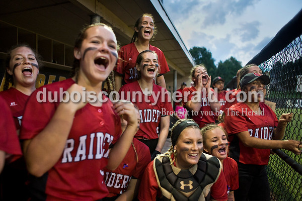 """""""We want some Misty,"""" chanted the Southridge softball team as Misty Merter batted during Thursday's 3A softball sectional semifinal game in Jasper. Southridge defeated Washington 8-5. Sarah Ann Jump/The Herald"""