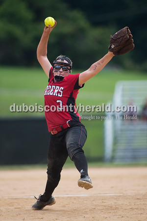 Southridge's Bre Wilkey pitched during Saturday's 3A softball sectional championship game in Jasper. Vincennes Lincoln defeated Southridge 10-2. Sarah Ann Jump/The Herald