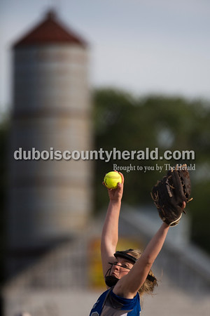 Northeast Dubois' Clare Mangin pitched during Monday's 1A softball sectional opener at Springs Valley High School in French Lick. Northeast Dubois defeated Wood Memorial 5-2. Sarah Ann Jump/The Herald