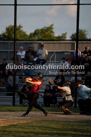Southridge's Lauren Springer batted during Thursday's 3A softball sectional semifinal game in Jasper. Southridge defeated Washington 8-5. Sarah Ann Jump/The Herald
