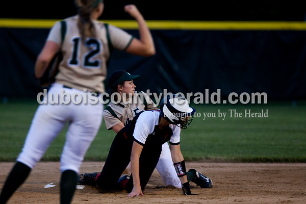 Tegan Johnston/The Herald Forest Park's Taylor Bayer celebrated as Macie Zink tagged out a North Posey player at second base during Tuesday's IHSAA Class 2A sectional game in Bretzville. Forest Park lost to North Posey in the seventh inning 1-0.