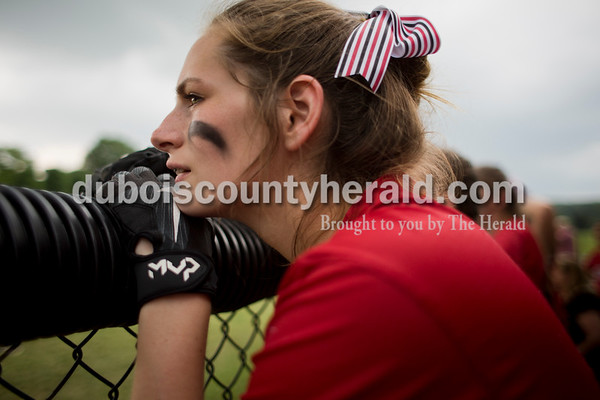 Southridge's Shelby Worden watched the final inning of Saturday's 3A softball sectional championship game in Jasper. Vincennes Lincoln defeated Southridge 10-2. Sarah Ann Jump/The Herald