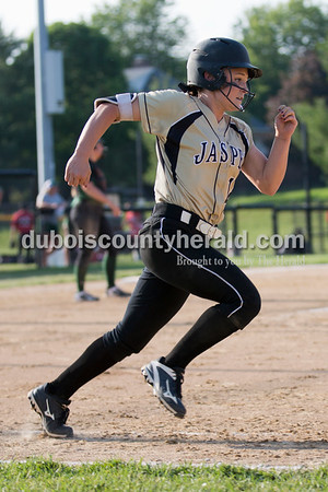 Jasper's Grace Werner sprinted to first base during Thursday's 3A softball sectional semifinal game in Jasper. Vincennes Lincoln defeated Jasper 1-0. Sarah Ann Jump/The Herald