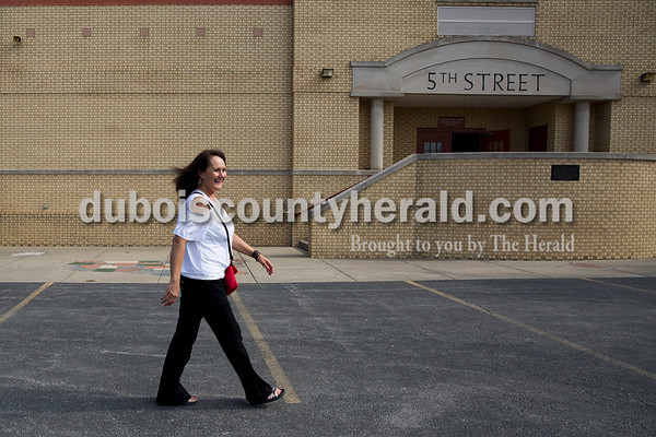 Sarah Ann Jump/The Herald Fifth Street School principal Leah Jessee walked outside to check on the students at recess at the school in Jasper on Wednesday morning.