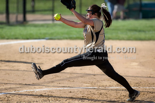Jasper's Olivia Knies delivered a pitch during Monday's Class 3A softball sectional opener against Pike Central in Jasper. The Wildcats defeated Pike Central 3-0. Dave Weatherwax/The Herald