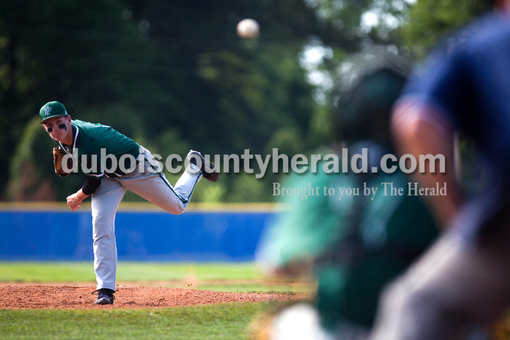 Tegan Johnston/The Herald<br /> Forest Park's Reid Brown delivered a pitch during Friday's Class 2A sectional semifinal game at Joe Hargis Field in Rockport. South Spencer defeated Forest Park 9-1.