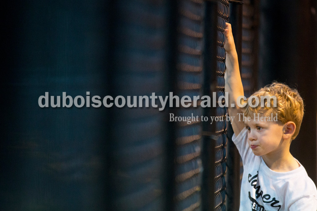TJ Block of Jasper, 4, watched the action from the fence above the dugout during Monday's 3A baseball sectional championship game in Jasper. Jasper defeated Princeton 5-0. Sarah Ann Jump/The Herald