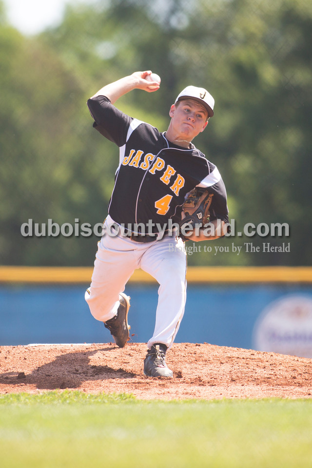 Jasper's Reece Kleinhelter pitched during Saturday's Class 3A regional semifinal against Silver Creek at North Harrison High School in Ramsey. Jasper defeated Silver Creek 13-3 in six innings. Sarah Ann Jump/The Herald