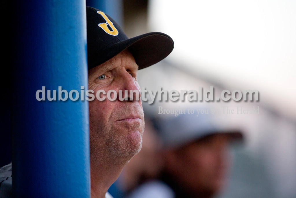 Jasper head coach Terry Gobert watched during Saturday's Class 3A regional championship against Lawrenceburg at North Harrison High School in Ramsey. Jasper defeated Lawrenceburg 4-2. Sarah Ann Jump/The Herald
