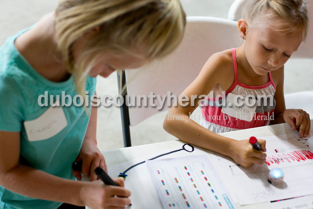 Tegan Johnston/The Herald<br /> Camille Betz of Celestine, 6, and Aundrea Christiansen of Jasper, 7, wrote codes for their Ozobots during Wednesday's Exploring 4-H Day Camp in the Clover Pavilion at the the Dubois County 4-H Fairgrounds in Bretzville. Purdue Extension hosted two days of Makers Mania: Experience a Day of Tinkering, Building, & Designing, a one-day camp that allowed children from kindergarten to second-grade to create and to experiment with different technology.
