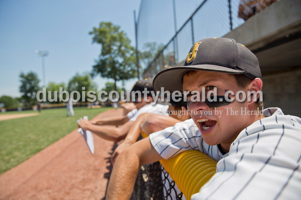 Jasper's Noah Weidenbenner cheered for his teammates during Saturday's Class 3A baseball semistate game at Ruxer Field in Jasper. Jasper defeated Northview 3-2 in 10 innings. Sarah Ann Jump/The Herald