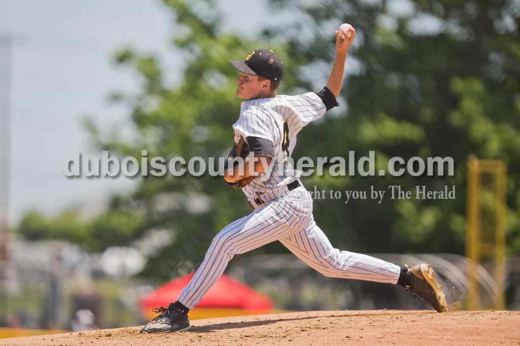 Jasper's Reece Kleinhelter pitched during Saturday's Class 3A baseball semistate game at Ruxer Field in Jasper. Jasper defeated Northview 3-2 in 10 innings. Sarah Ann Jump/The Herald