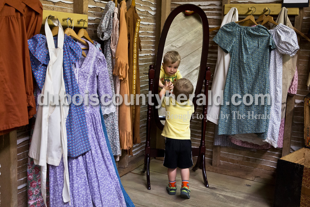 Max Hoffman of Jasper, 2, checked himself out in the mirror during story time at the Dubois County Museum in Jasper on Tuesday morning. Sarah Ann Jump/The Herald