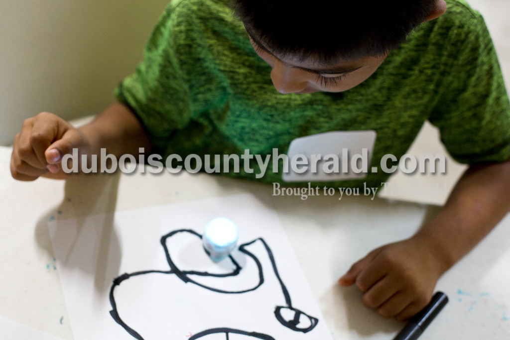 Tegan Johnston/The Herald<br /> Ricardo Vanegas of Huntingburg, 6, watched an Ozobot follow a map he had drawn for it during Wednesday's Exploring 4-H Day Camp in the Clover Pavilion at the the Dubois County 4-H Fairgrounds in Bretzville. Purdue Extension hosted two days of Makers Mania: Experience a Day of Tinkering, Building, & Designing, a one-day camp that allowed children from kindergarten to second-grade to create and to experiment with different technology.