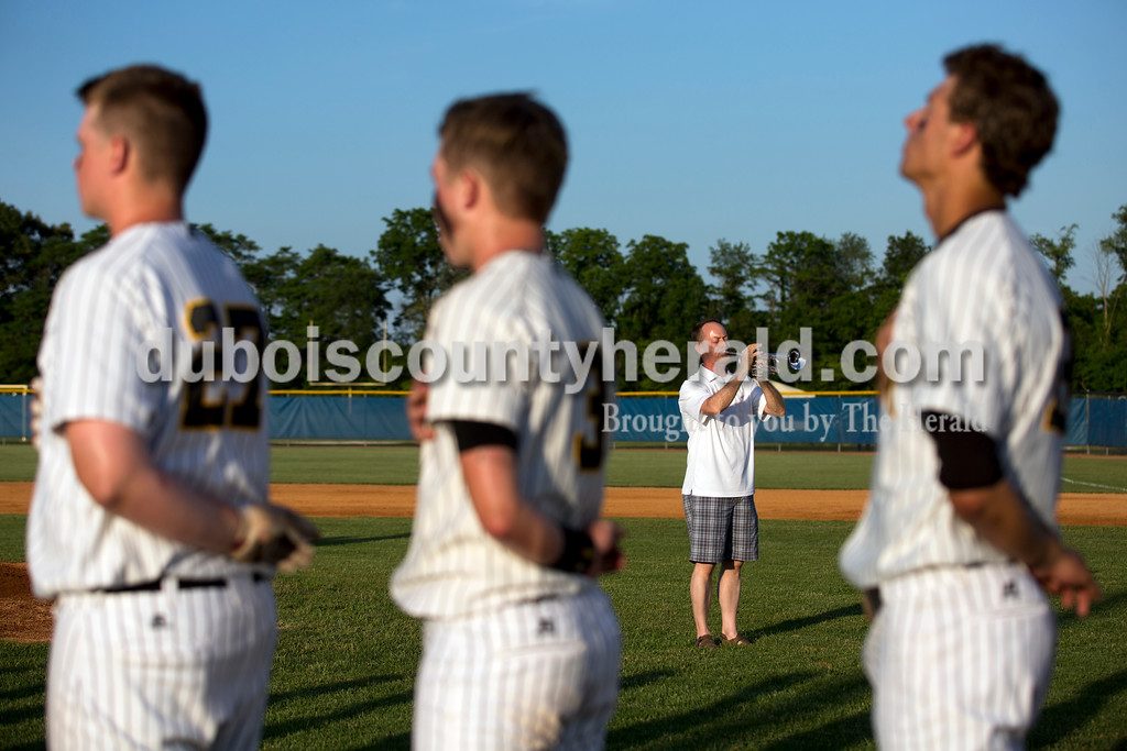 State Senator Mark Messmer of Jasper played the national anthem before Saturday's Class 3A regional championship against Lawrenceburg at North Harrison High School in Ramsey. Jasper defeated Lawrenceburg 4-2. Sarah Ann Jump/The Herald