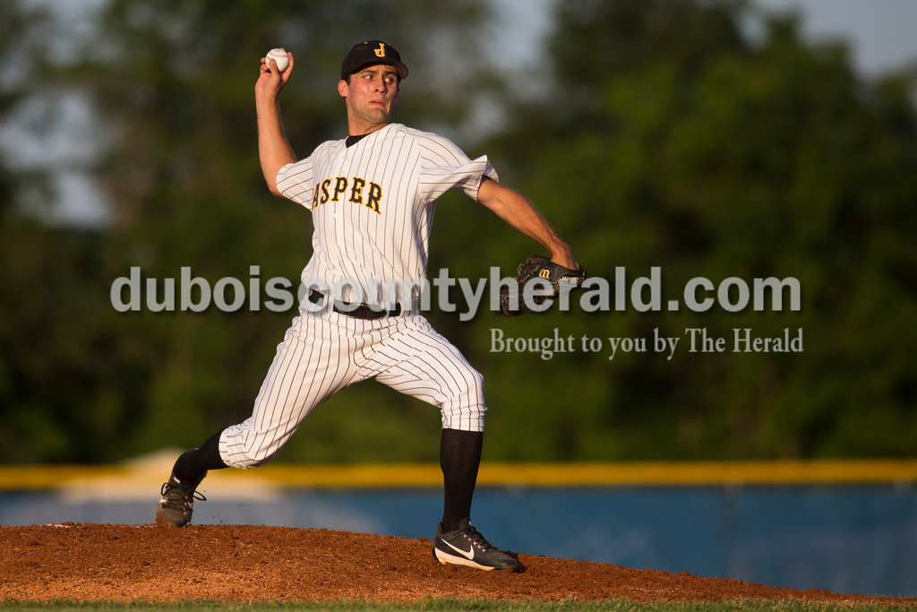 Jasper's Connor O'Brien pitched during Saturday's Class 3A regional championship against Lawrenceburg at North Harrison High School in Ramsey. Jasper defeated Lawrenceburg 4-2. Sarah Ann Jump/The Herald