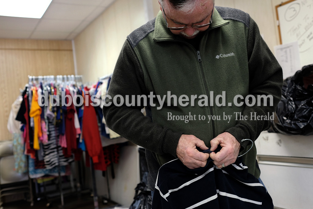 Prior to the Deep Brain Stimulation surgery, Steve's tremors were bad enough that it made simple life tasks like buttoning a shirt nearly impossible. Since the procedure, combined with his daily medication, Steve is able to button a shirt with no issue as he did March 14 during his weekly volunteering at Shared Abundance in Huntingburg.