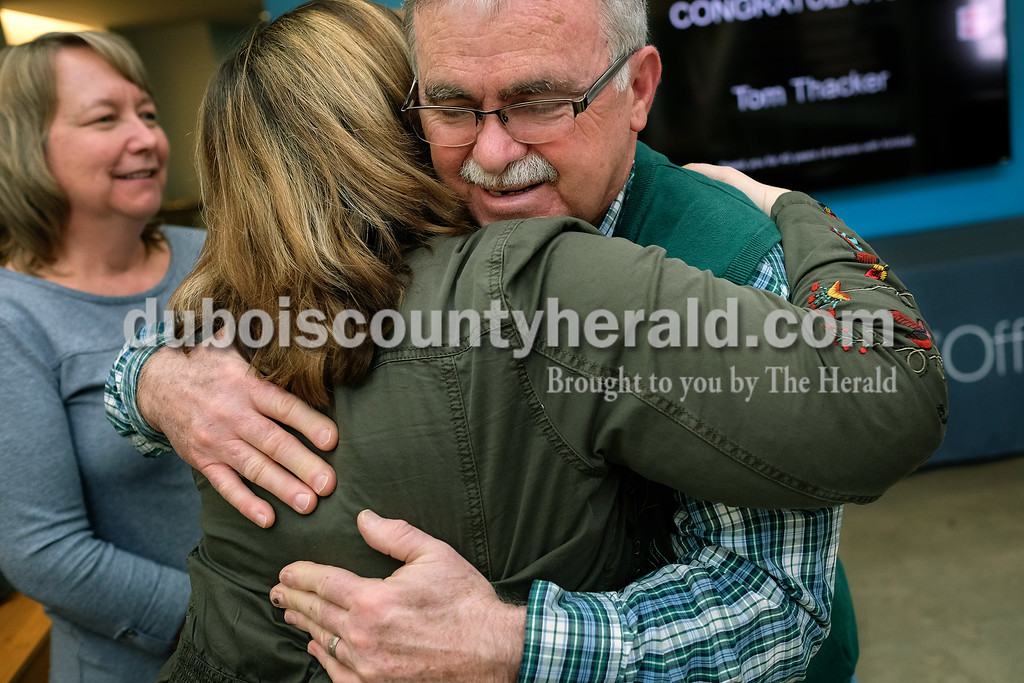 Being a person that has always liked to be around people, Steve found it difficult to retire early from his job at Kimball Office after 31 years. Steve keeps in contact with many of his coworkers and occasionally visits. He was invited to attend a former coworker's 40th anniversary party March 20 in which he received a hug from Angela Kuebler of Dale.