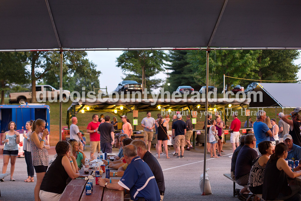 Brittney Lohmiller /The Herald <br /> Attendees at this year's Heimatfest enjoyed the sunset from inside the beer garden in Ferdinand Friday evening. Proceeds from the weekend's festivities will benefit the Ferdinand Community Endowment as well as the Dubois County General Fund.