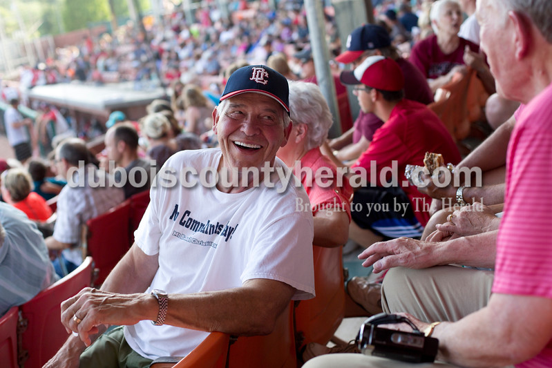 "Tegan Johnston/The Herald<br /> Alan Nass of Huntingburg talked to Jerry Birge of Jasper before the start of the Bombers game during Saturday's 25th anniversary celebration of the film ""A League of Their Own"" at League Stadium in Huntingburg. Nass's wife, Connie, was the former Mayor of Huntingburg who made it possible for the film to be produced in Huntingburg."