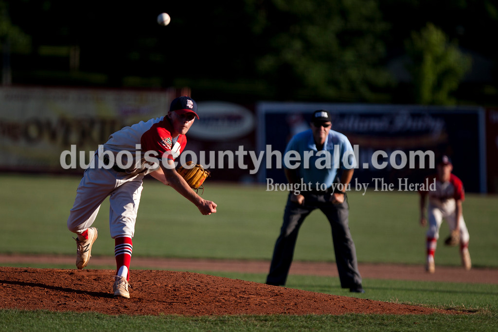 Tegan Johnston/The Herald<br /> Dubois County Bombers' Chance Hitchcock delivered a pitch during Tuesday night's game at League Stadium in Huntingburg. The Bombers defeated Paducah 8-2.