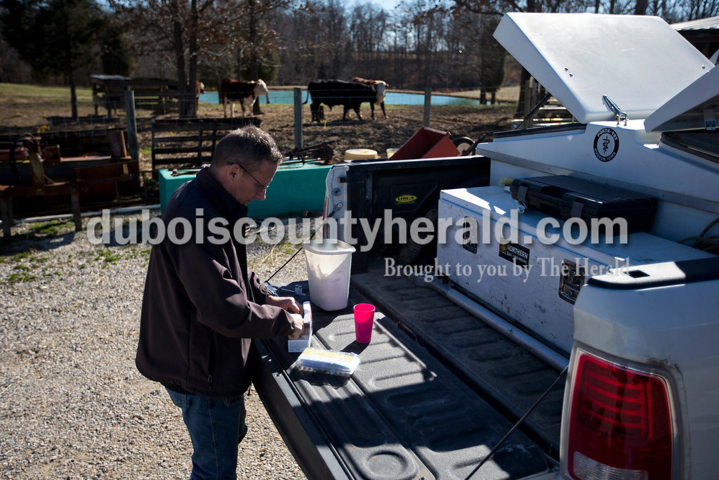 Almost all of Dr. Greg Hoagland's large animal calls are at the owner's home, so Hoagland carries all of his supplies and tools along with him in his truck. The supply box on the back of his truck includes a water tank and refrigeration for vaccines and medicine and heat.