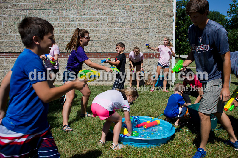 Sarah Ann Jump/The Herald<br /> The library provided squirt guns for participants during Water Wars with the Dubois County Bombers at the Ferdinand Public Library on Tuesday.