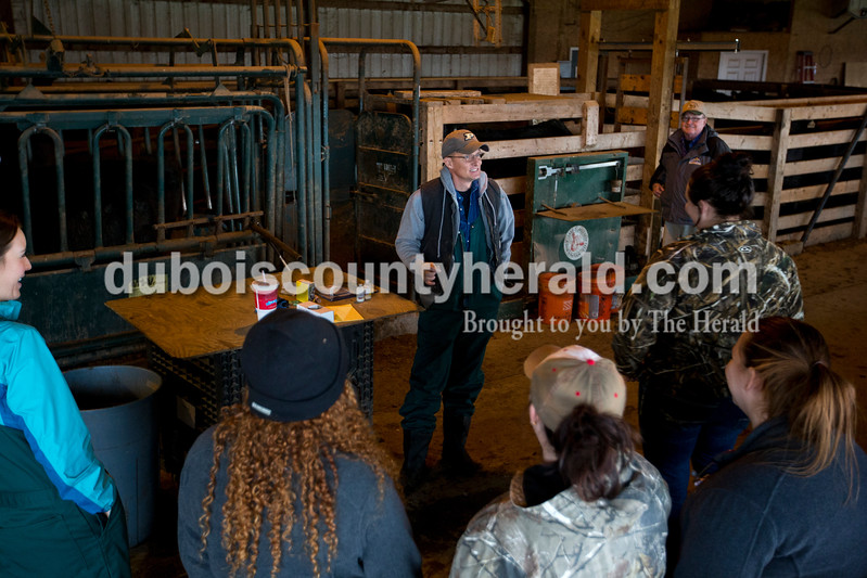 Dr. Greg Hoagland teaches two clinical classes each quarter for Harrison College veterinary students. On March 1 he met with the class at J&D Kerstiens farm in Huntingburg to run through cattle chute and vaccination work.