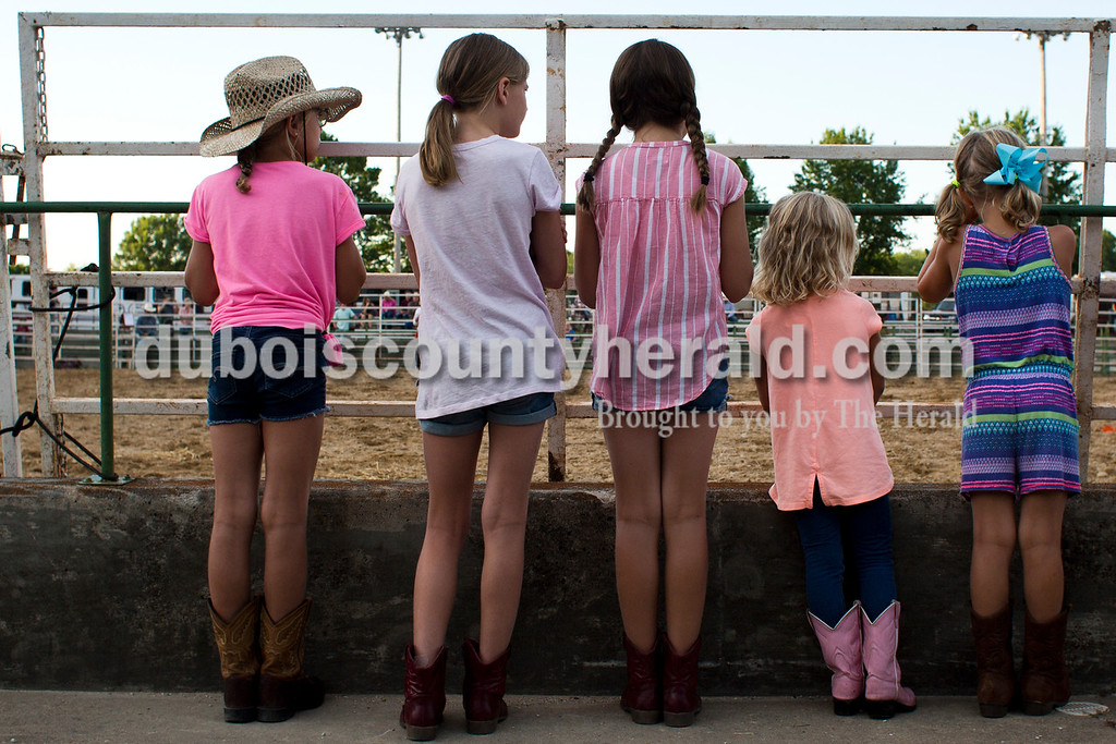 Tegan Johnston/The Herald<br /> Hallie Peter of Evansville, 8, from left, Maggie Aull of Jasper, 9, her sister, Hannah, 10, Olivia Peter of Evansville, 4, and her sister, Emma, 6, stood by the fence and watched the barrel racing during the Lone Star Rodeo on Saturday at the Dubois County 4-H Fairgrounds in Bretzville.