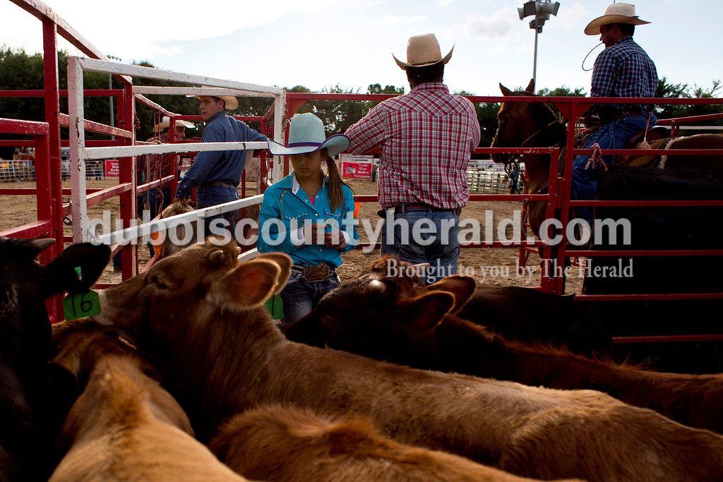 Tegan Johnston/The Herald<br /> Oralee Madison of Crofton, Ky., 9, center, watched the calves while standing in their pen during the Lone Star Rodeo on Saturday at the Dubois County 4-H Fairgrounds in Bretzville.