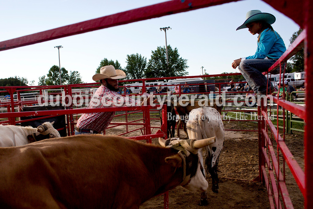 Tegan Johnston/The Herald<br /> Oralee Madison of Crofton, Ky., 9, watched as Jamin Turner of Dixon, Tenn., separated the calves before the team roping during the Lone Star Rodeo on Saturday at the Dubois County 4-H Fairgrounds in Bretzville.