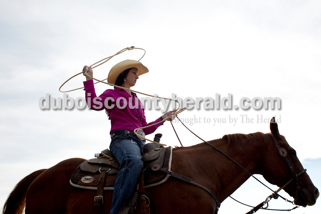 Tegan Johnston/The Herald<br /> Danielle Hart of Marion, Ky., prepared to compete in breakaway roping during the Lone Star Rodeo on Saturday at the Dubois County 4-H Fairgrounds in Bretzville.
