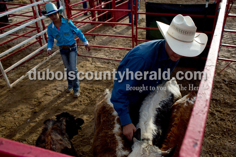 Tegan Johnston/The Herald<br /> Oralee Madison of Crofton, Ky., 9, watched as Lane Pelham of Franklin, Tenn., 16, guided a calf to the shoot for the calf roping during the Lone Star Rodeo on Saturday at the Dubois County 4-H Fairgrounds in Bretzville.