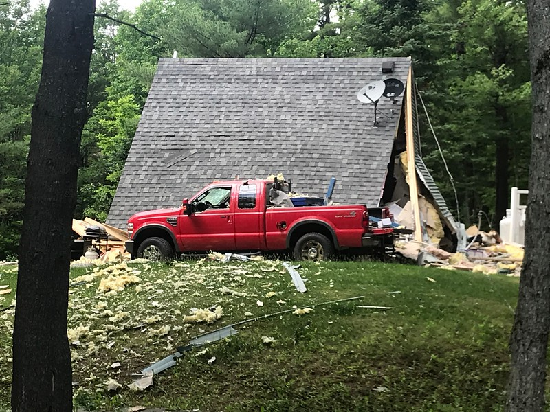 The partially destroyed home on 2 Fox Lane in Dixmont where a man caused an 18-hour police standoff, which ended when police detonated a controlled explosion at his home. The man, Michael Grendell, was shot when he emerged from the house with a firearm, and refused orders to put it down.
