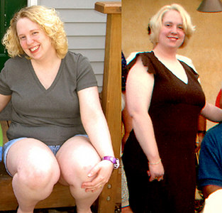 """Summer 2003?  WAY back in the day...maybe around age 30.  In the photo on the right my DH's aunt is hiding behind me...and she is not a small woman, either.  I was tipping the scales around 185#s and squeezing myself into size 14s, when I was really a 16.  No woman under 5'4"""" (I'm about 5'3.5"""") should see #s like that on the scale.  My breast reduction surgery after losing ~40#s was a big help, too.  I went from a pre-op 34DDD/F to a post-op 34D.  Fortunately, DS is almost 12 and has no recollection of his mom being so obese.  The mom he knows now likes to go go go...on bikes and running shoes!  He likes to join his dad and me, so we don't worry to much that he will end up struggling with weight like I did.  My mother was never a good role model for us.  Now she is my cautionary tale.  I don't want to be in my late-60s and have no goals, be dumpy, and battle a bunch of health issues (some I share, like asthma) that could be greatly improved by even regular, light activity.  Age shouldn't be something to accept lying-down."""