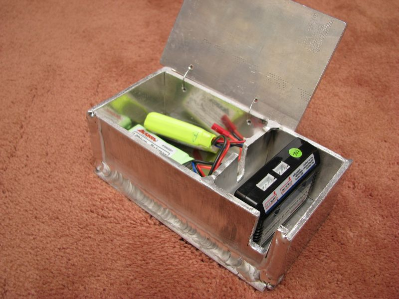 This is what it all ended up becoming.  A fireproof battery charging box for storing and charging LiPo batteries, which let you know they are finished, by sometimes catching on fire!
