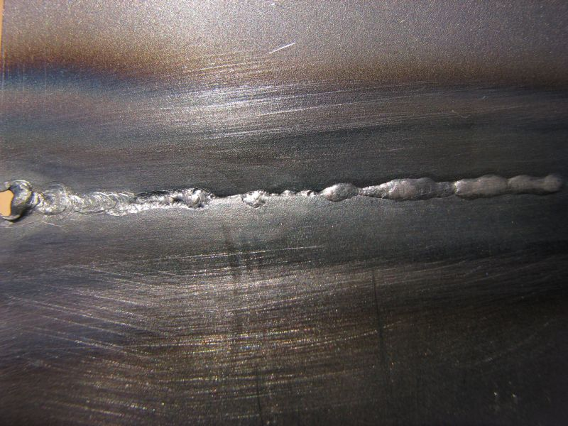 The backside of the previous weld.  Good penetration, but not very uniform.