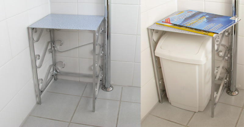 Bathroom magazine rack.