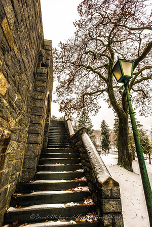 Cadet Chapel stairway & lamp post-U.S.M.A. at West Point, NY
