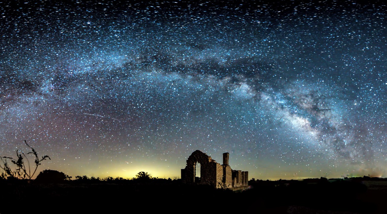 Milky Way pano at Fort Griffin Historic Site