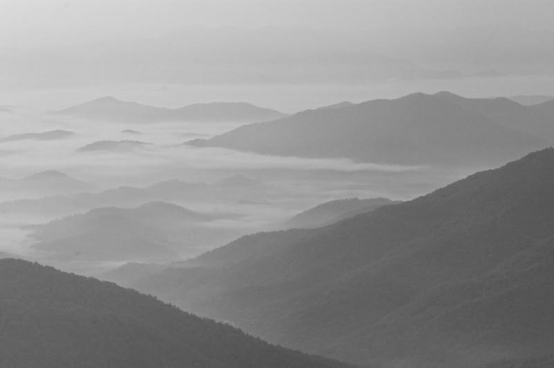 Wayah Mountain Sunrise IV B&W