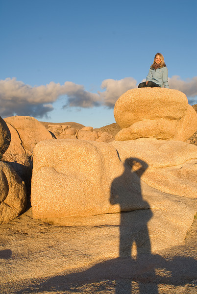 Sarah on the BIG ROCKS at White Tank in Joshua Tree