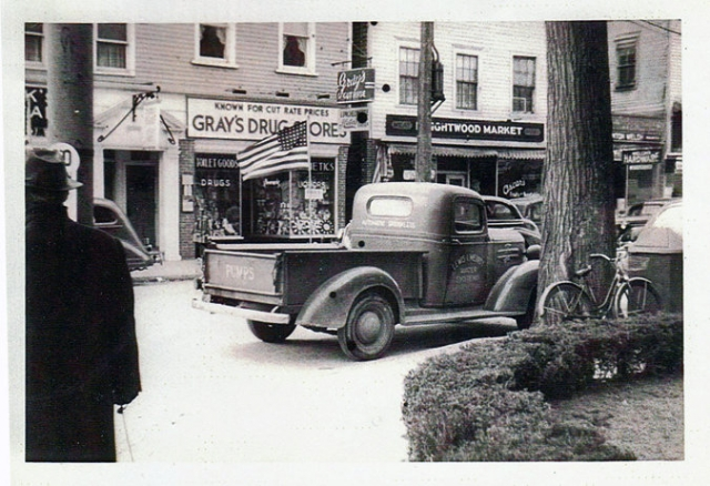 Westport, Main Street at Post Road, 1940s.