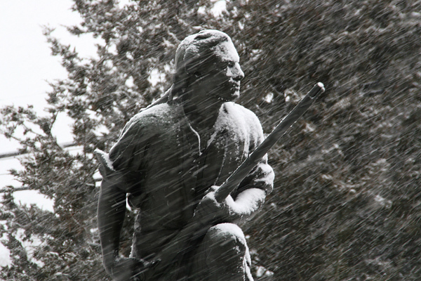 Compo minuteman in snow.